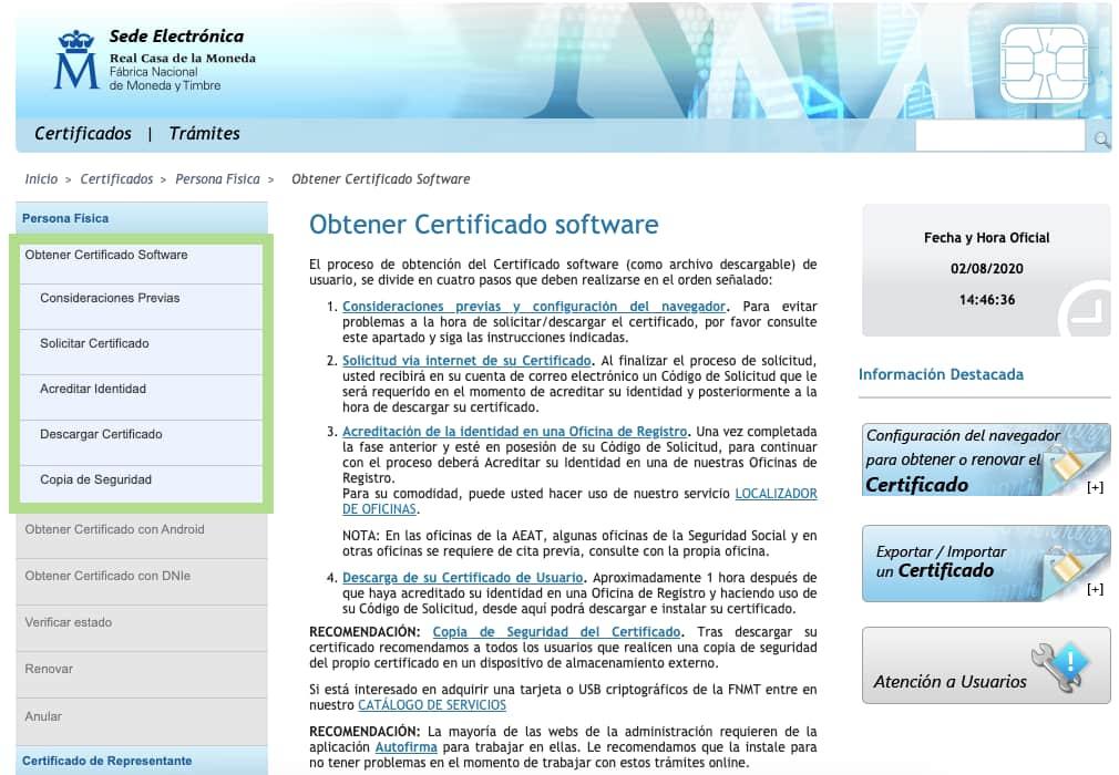 Opción: Obtener certificado software
