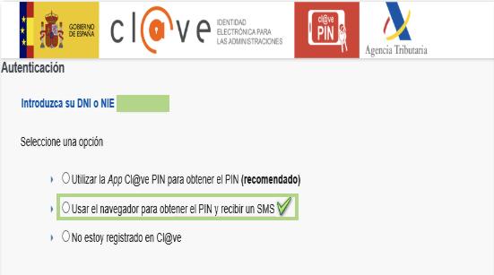 Obtener Cl@ve PIN SMS