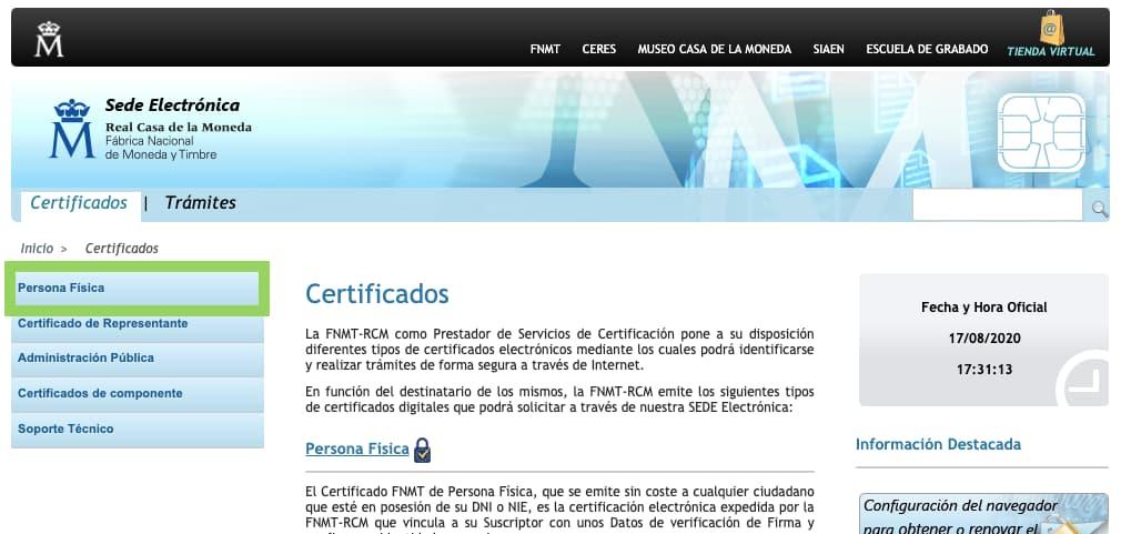 Renovar certificado FNMT 1