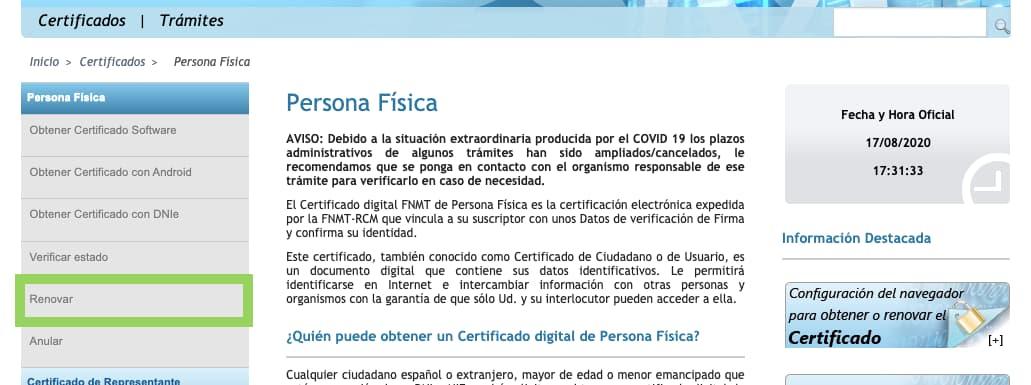 Renovar certificado FNMT 2