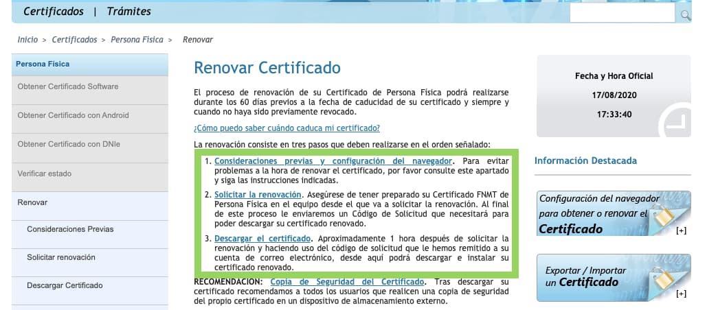 Renovar certificado FNMT 3