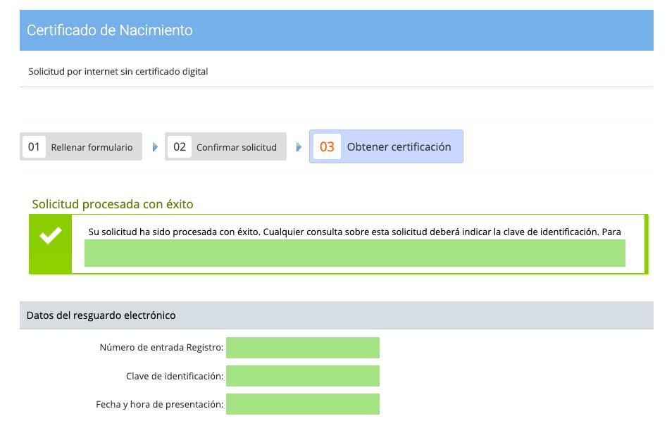 Solicitar certificado de nacimiento paso 6